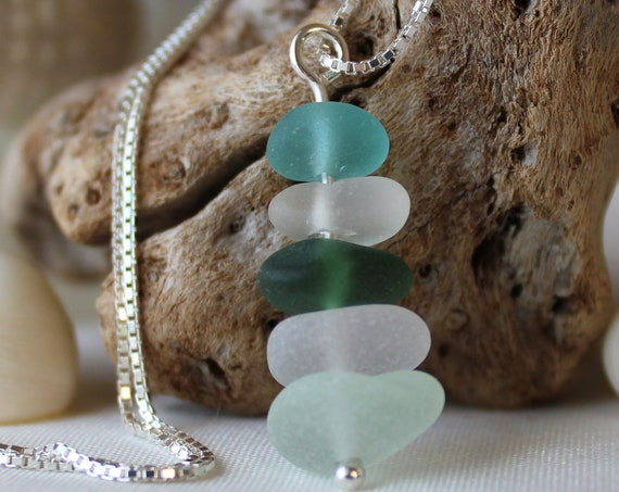 Sea Stack sea glass necklace in aqua, teal, seafoam and white
