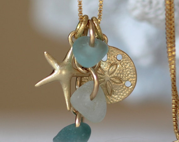 Ocean cluster gold filled sea glass necklace in aqua, white and teal