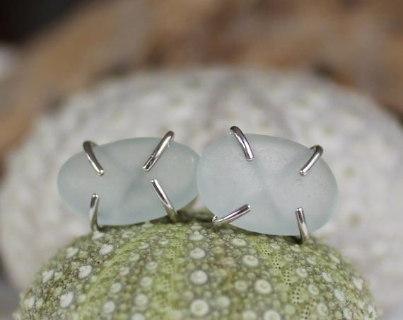 Tiny Ocean sea glass stud earrings in white