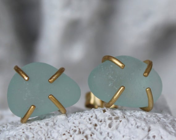 Tiny Ocean sea glass stud earrings in soft aqua
