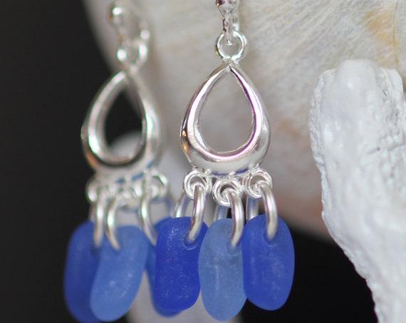 Drench sea glass earrings in ocean blues