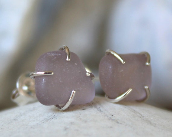 Tiny Ocean sea glass stud earrings in soft lilac