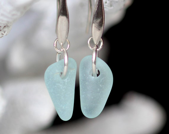 Horizon sea glass earrings in soft aqua