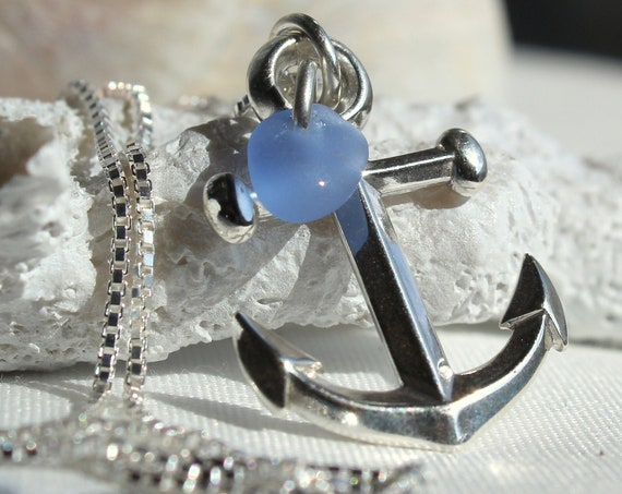 Mooring sea glass necklace in cornflower blue