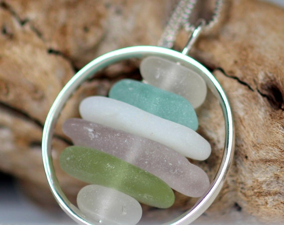 Wheelhouse sea glass necklace in lovely pastels
