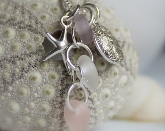 Ocean sea glass necklace in white and soft pink