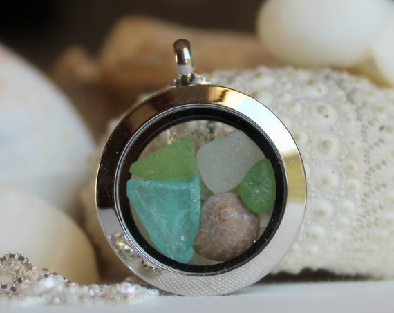 Porthole sea glass locket in aqua and green