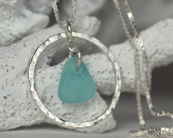 Sea Circle beach glass necklace in aqua