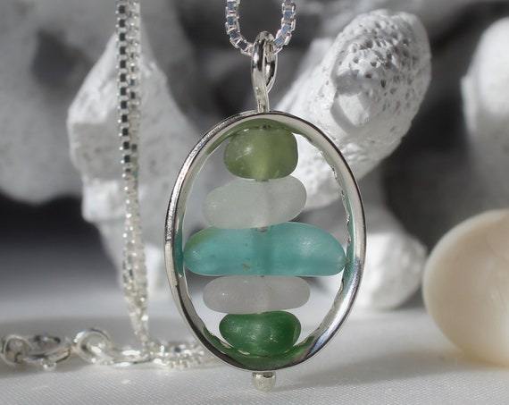 Drops in the Ocean sea glass necklace in aqua, olive and white