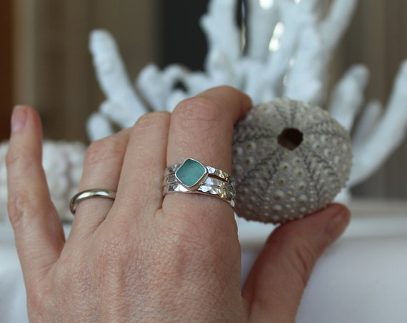 Sea Sprite custom sea glass stacking ring set in sterling silver