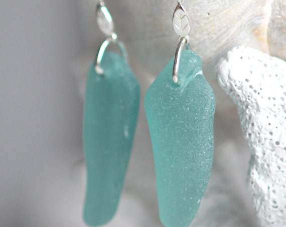 Little Leaf sea glass earrings in aquamarine