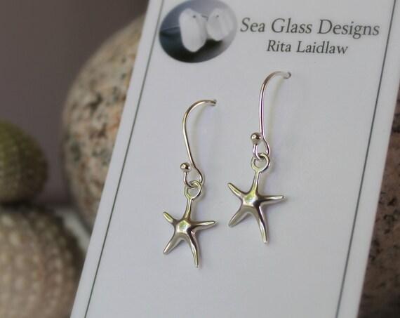 Little Starfish sterling silver earrings