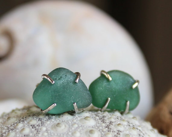Tiny Ocean sea glass stud earrings in teal green