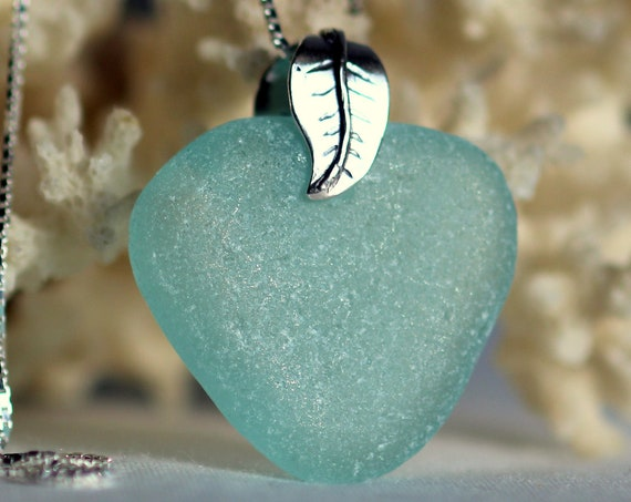 Sea Garden sea glass necklace in aquamarine