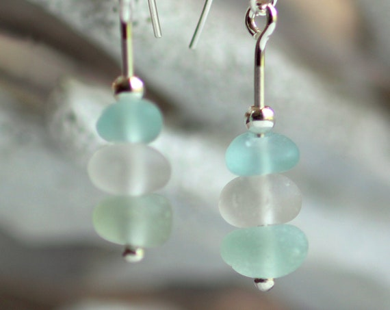 Sea Stack beach glass earrings in aqua, white, and seafoam