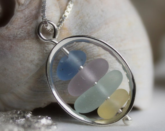 Drops in the Ocean sea glass necklace in lovely pastels
