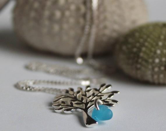 Tree of Life sea glass necklace in bright aqua