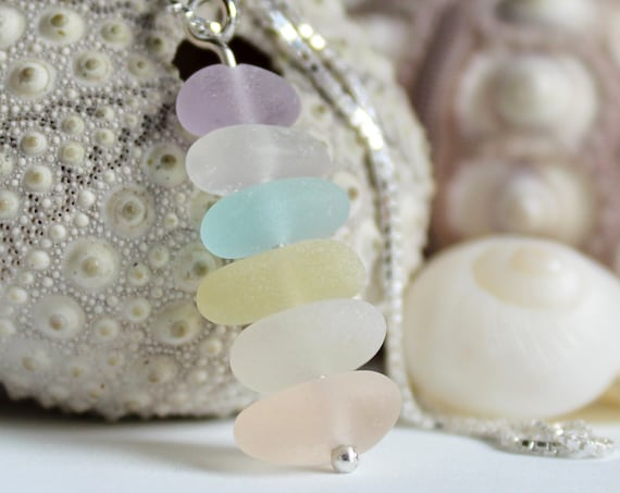 Sea Stack sea glass necklace in pastel shades
