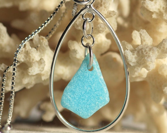 Sea Keeper sea glass necklace in turquoise