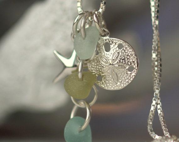 Ocean cluster sea glass necklace in aqua, straw and seafoam