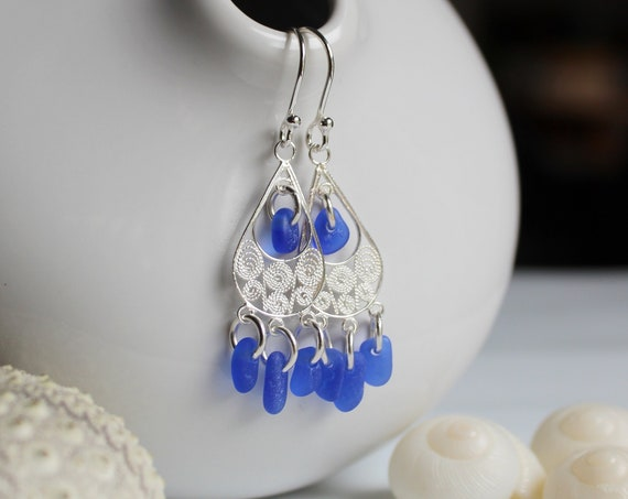 Sea Siren sea glass earrings in blue