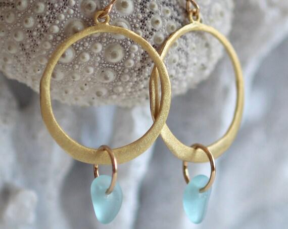 Verge gold filled sea glass earrings in aqua
