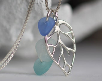 Wedding Necklace Grey Sea Glass Silver Pendant Gift for Wife Contemporary Sterling Silver Jewelry