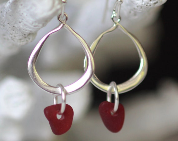 On hold for JohannaWaterline sea glass earrings in rare red