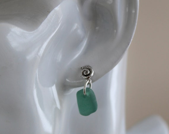 Little Nautilus sea glass earrings in teal