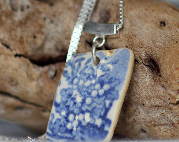 Blue and White sea pottery necklace