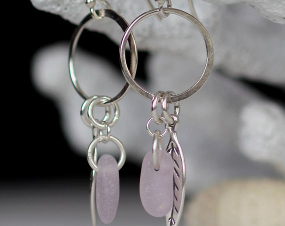 Boho Beach soft pink sea glass earrings