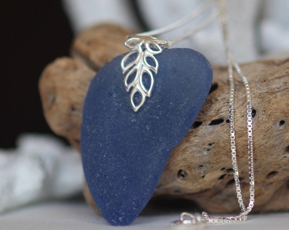Lagoon sea glass necklace in denim blue
