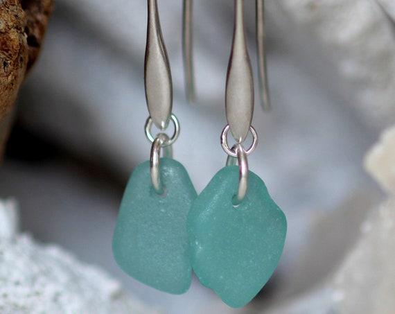 Horizon sea glass earrings in teal