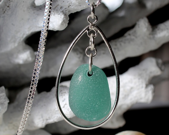 Sea Keeper sea glass necklace in teal green