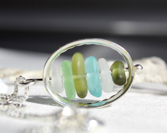 Drops in the Ocean sea glass necklace in aqua and olive
