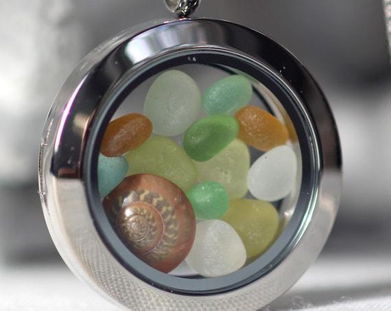 Porthole sea glass locket with seashell in earth tones