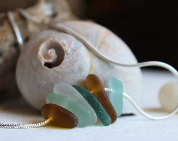Wanderlust sea glass necklace in earth tones