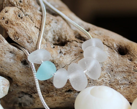 Wanderlust sea glass necklace in white and aqua