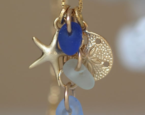 Ocean cluster gold filled sea glass necklace in blues