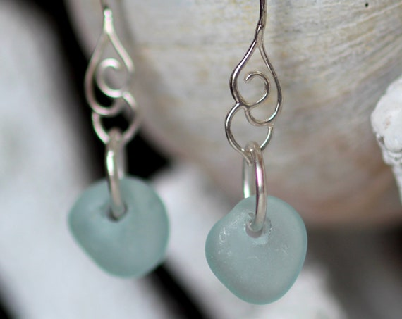 Whitecap sea glass earrings in aqua