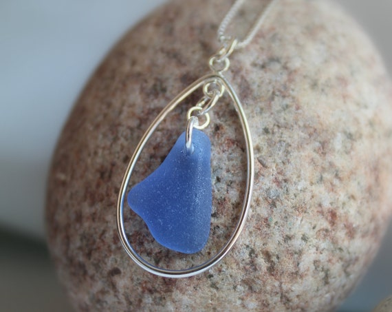 Sea Keeper sea glass necklace in cornflower blue