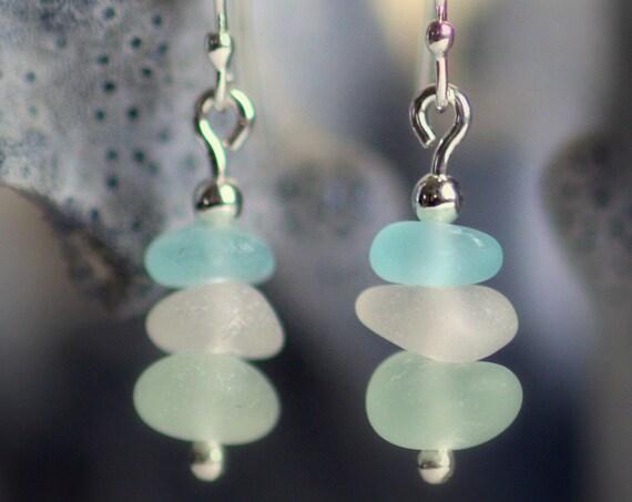 Sea Stack beach glass earrings in aqua, white, and seafoam