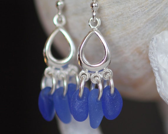 Drench sea glass earrings in cobalt blue