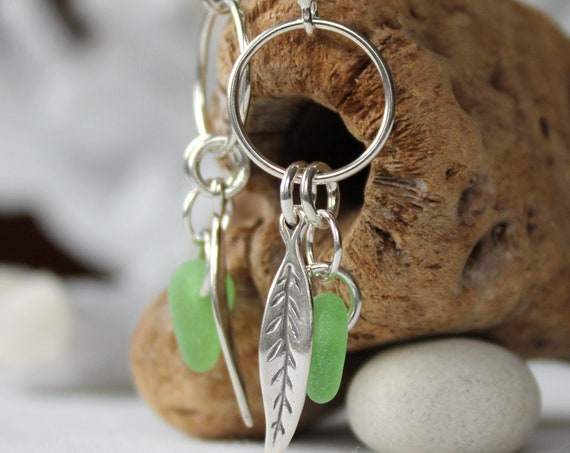 Boho Beach kelly green sea glass earrings
