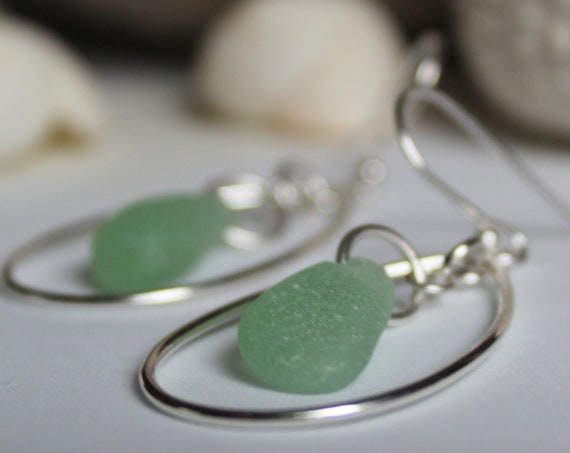 Sea Keeper sea glass earrings in soft seafoam green