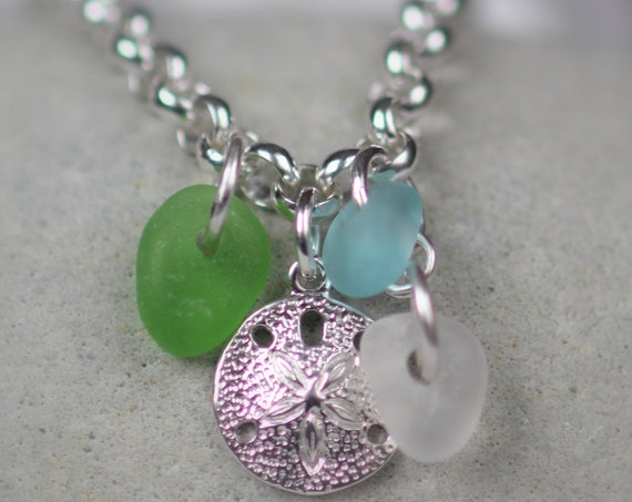Little Sand Dollar sea glass bracelet in aqua, lime green, and white