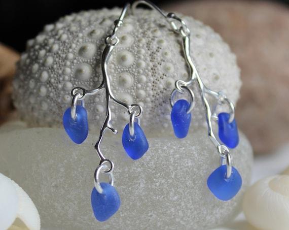 Winterberry sea glass earrings in cobalt blue