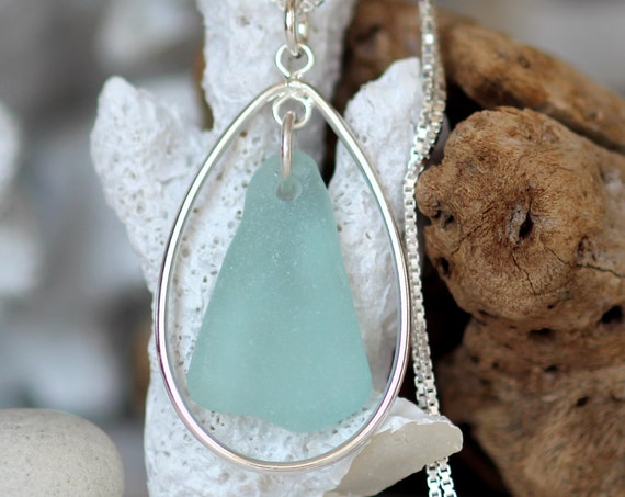 Sea Keeper sea glass necklace in aqua