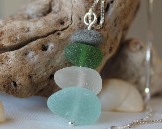 Sea Stack cairn sea glass necklace in true green, aqua and white