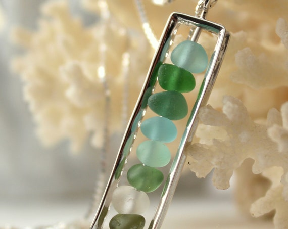 The Mariner sea glass necklace in ocean greens